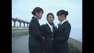 3 Japanese Lesbian Airline Stewardess Girls Kissing!