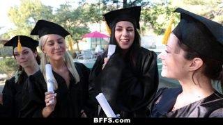 BFFS – Celebrating Graduation With Lesbian Threesome