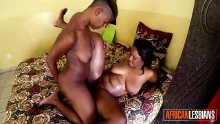 Black lesbian duo rubbing tight pussies together