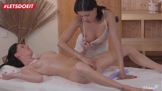 Horny Lesbian Massagist xxx Her Client  fuck with huge dildo