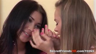 Jessy B and Nestee Shy Playing Naughty Lesbo Games
