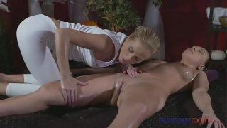 Massage Rooms y. lesbian is fucked by a Halloween beauty
