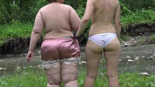 Squirt hairy pussy Two Russian lesbians with big asses masturbate outdoors